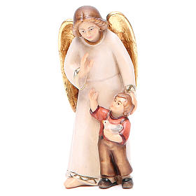 Guardian angel with little boy, modern style in Val Gardena wood s1
