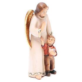 Guardian angel with little boy, modern style in Val Gardena wood s4