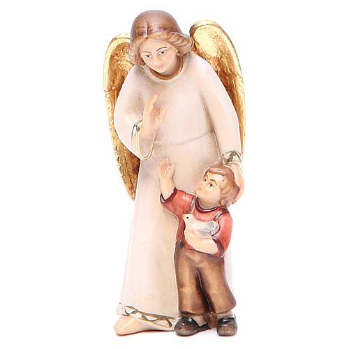 Guardian angel with little boy, modern style in Val Gardena wood 1