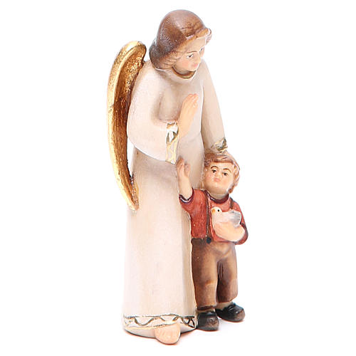 Guardian angel with little boy, modern style in Val Gardena wood 4