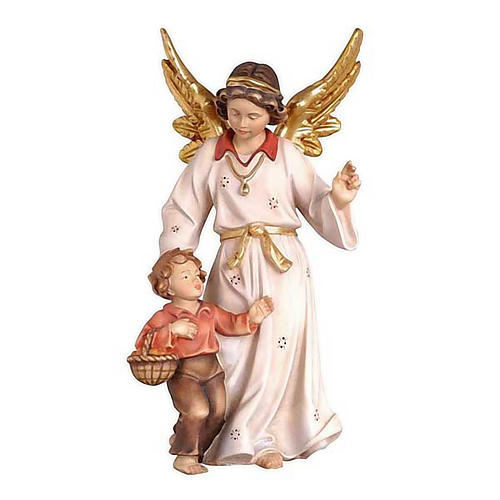 Angelo custode con bambino  legno Val Gardena 1
