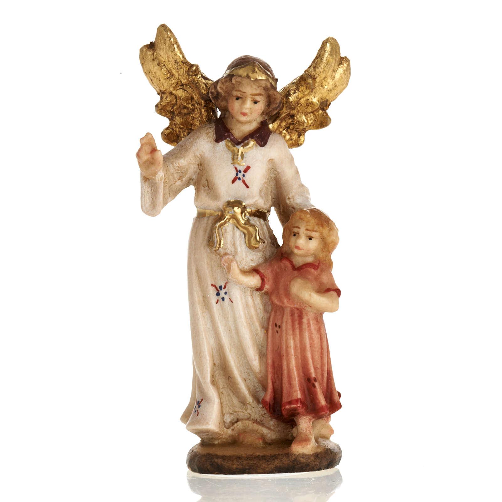 Angelo custode con bambina  legno Val Gardena 3