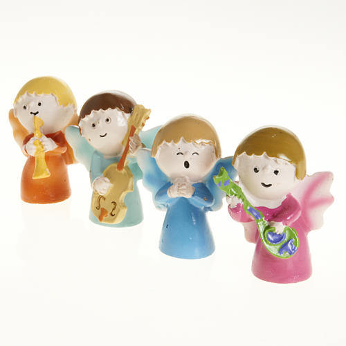 Angels musicians in resin, 4 pieces 1