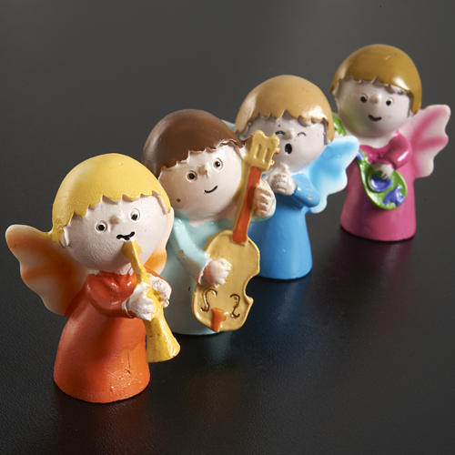 Angels musicians in resin, 4 pieces 2