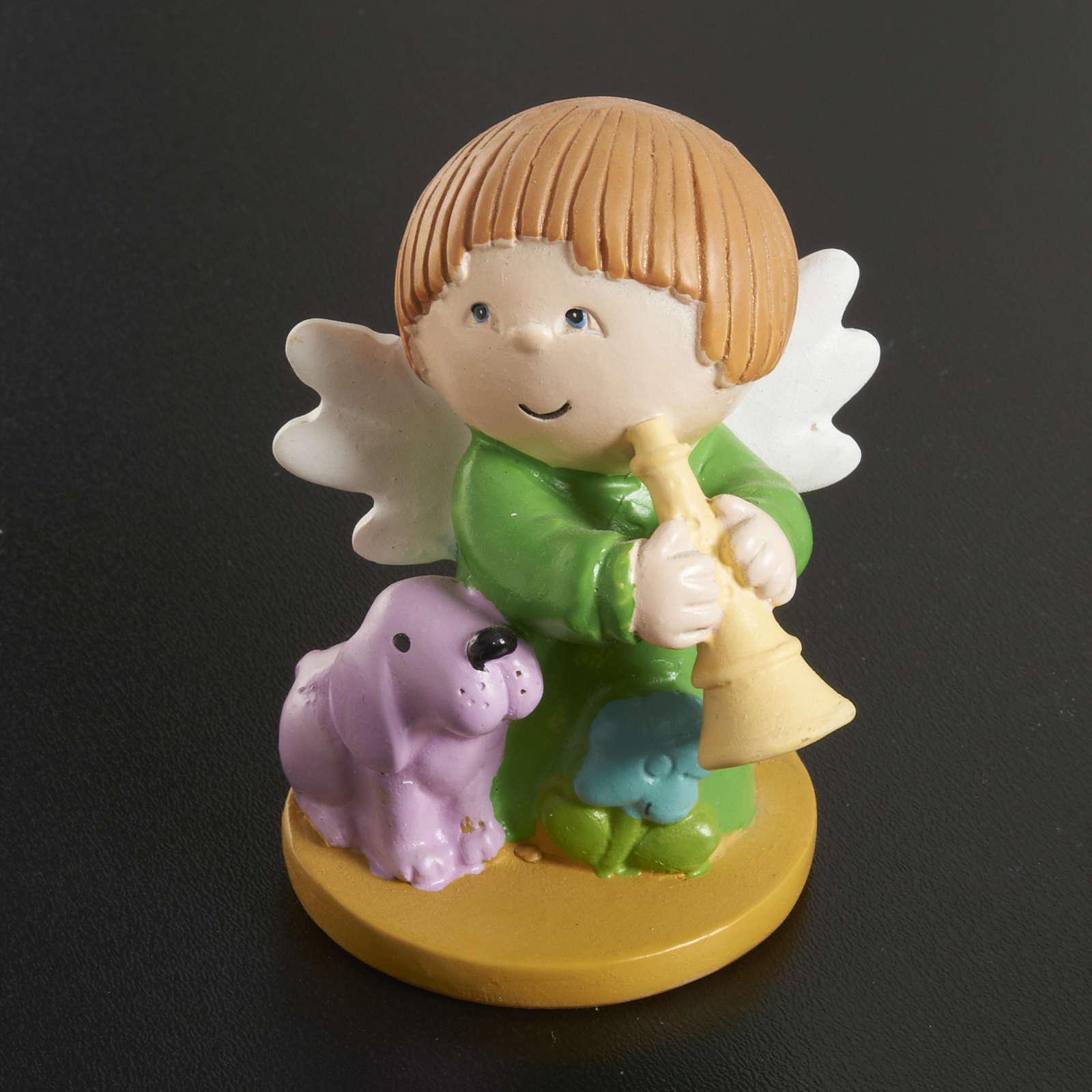 Angeli in resina con animali e strumenti 4 pz. 3