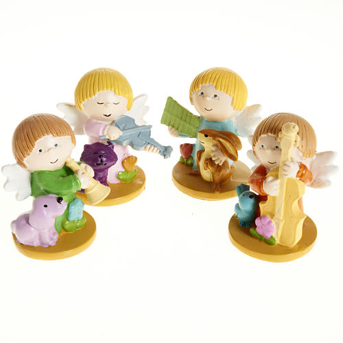 Resin Angels with Animals and Instruments, 4 pieces 1