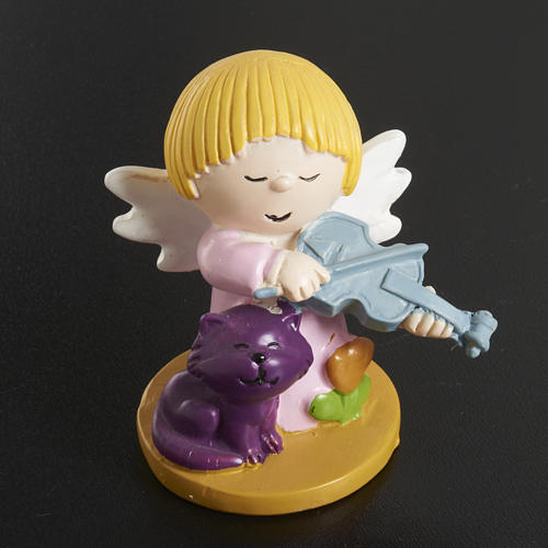 Resin Angels with Animals and Instruments, 4 pieces 4