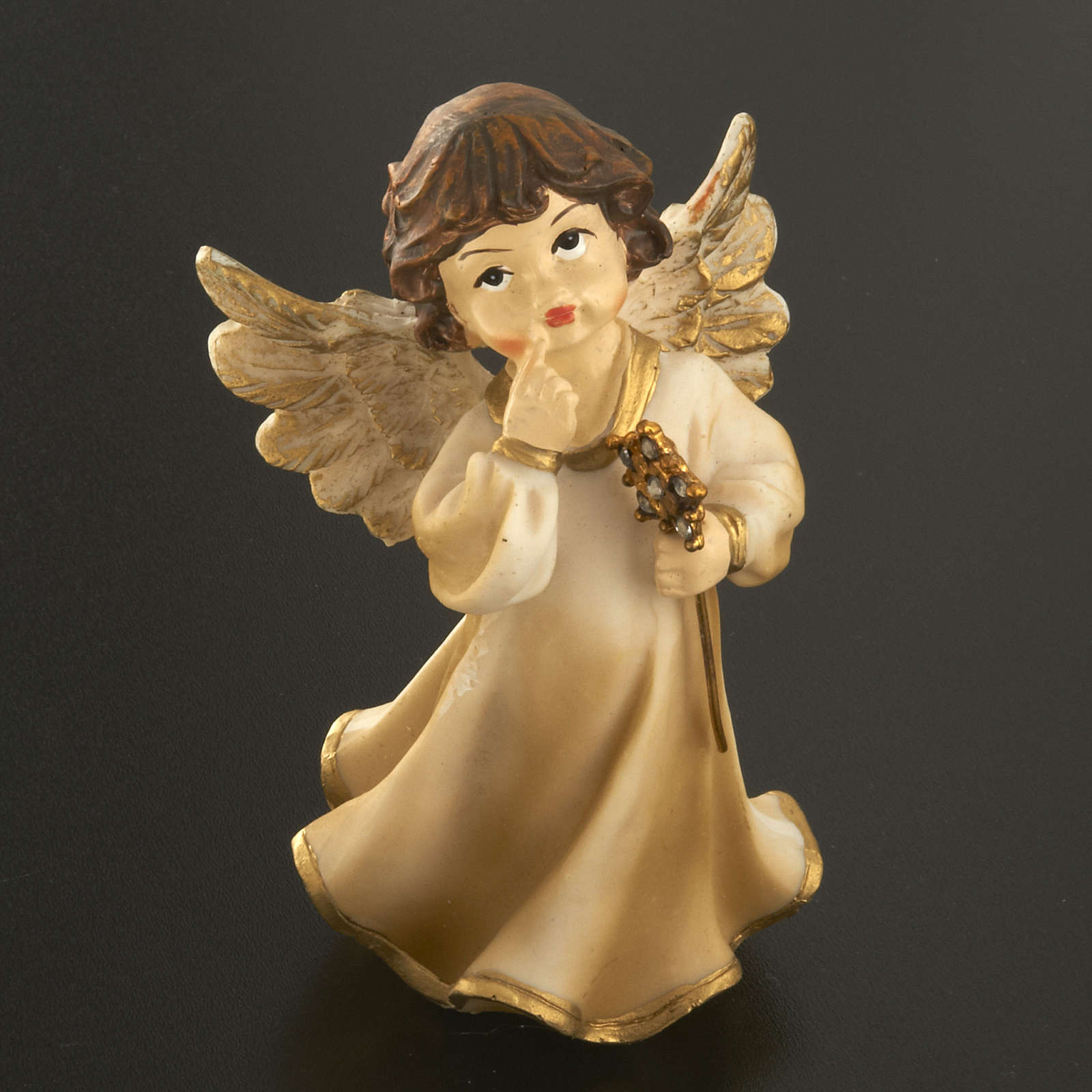 Angels in resin with flower, 4 pieces 12cm 3