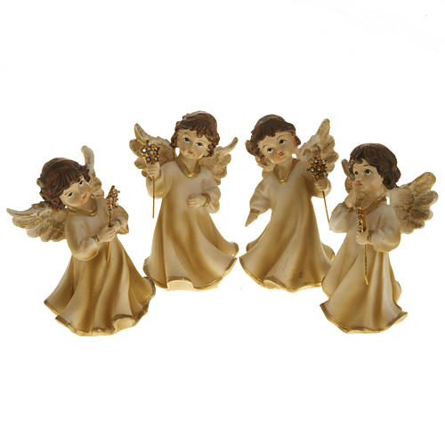 Angels in resin with flower, 4 pieces 12cm 1