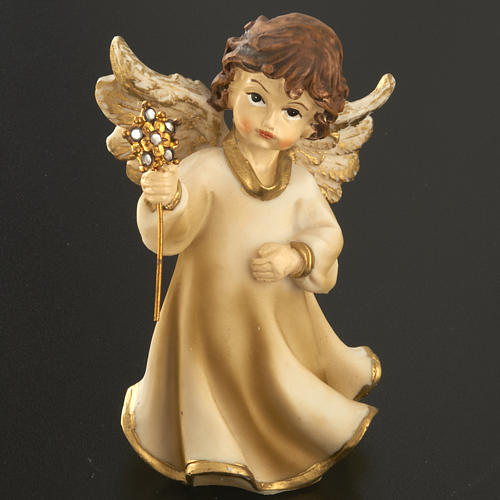 Angels in resin with flower, 4 pieces 12cm 4