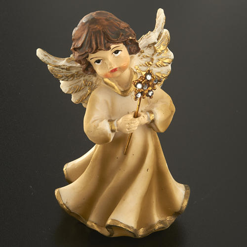 Angels in resin with flower, 4 pieces 12cm 5