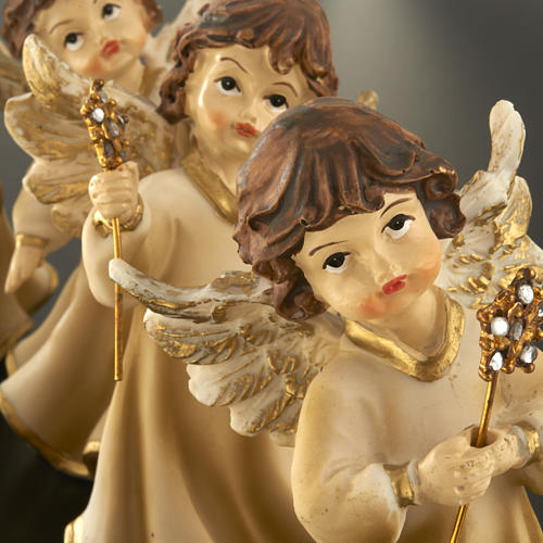 Angels in resin with flower, 4 pieces 12cm 7