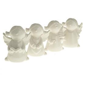 Ángeles en cerámica blanca, 4 unidades 11cm s2