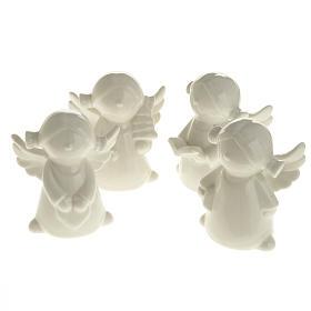 Angels in white ceramic, 4 pieces 11cm s1