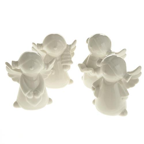 Angels in white ceramic, 4 pieces 11cm 1