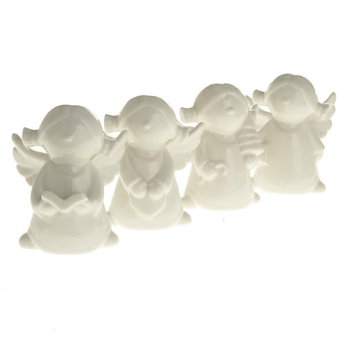 Angels in white ceramic, 4 pieces 11cm 2