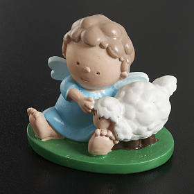 Angel with sheep 6x5cm in coloured resin s2