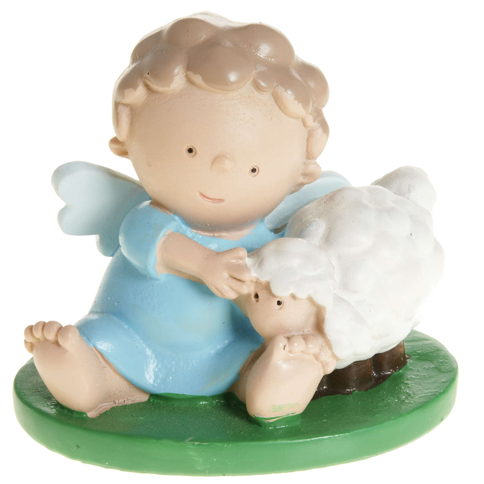 Small Boy Angel with Sheep 6x5cm in colored resin 3