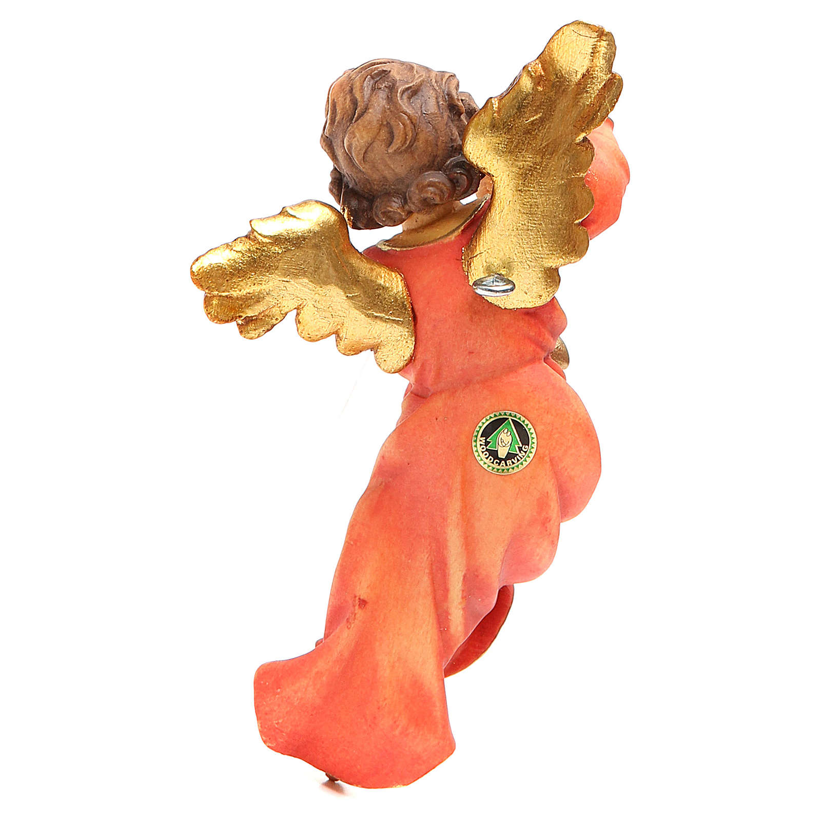 STOCK Musician Angel with flute, painted wood 14cm Val Gardena 3