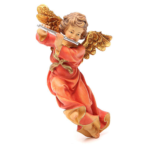 STOCK Musician Angel with flute, painted wood 14cm Val Gardena 1