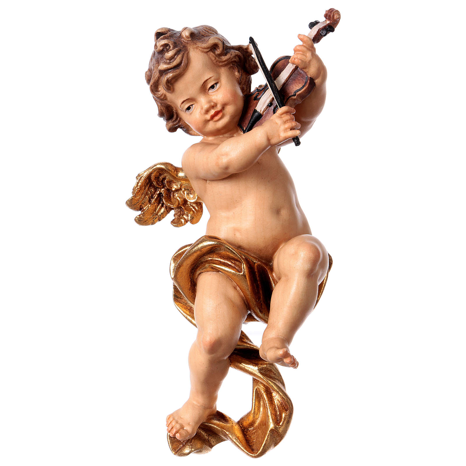 Putto with violin in wood from Valgardena 3