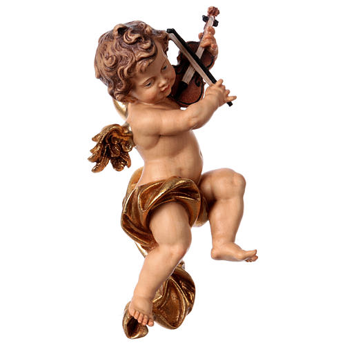 Putto with violin in wood from Valgardena 2