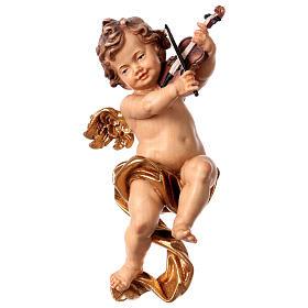 Angeli: Putto con violino legno Valgardena