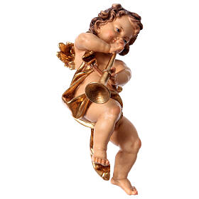 Putto with trumpet in Valgardena wood s2