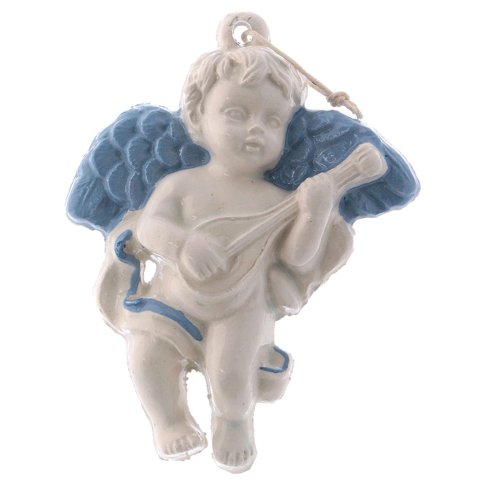 Petit ange avec mandoline céramique Deruta ailes bleues 10x10x5 cm 3