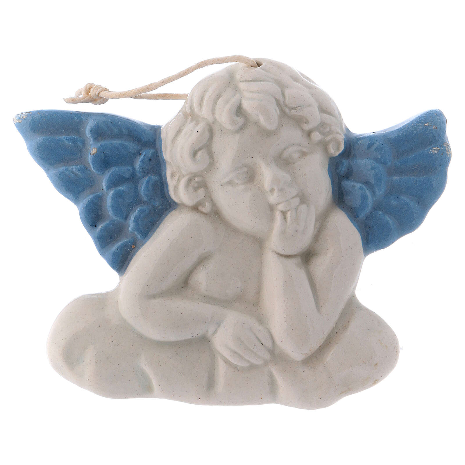 Deruta ceramic angel to hang with blue wings 5x10x1 cm 3