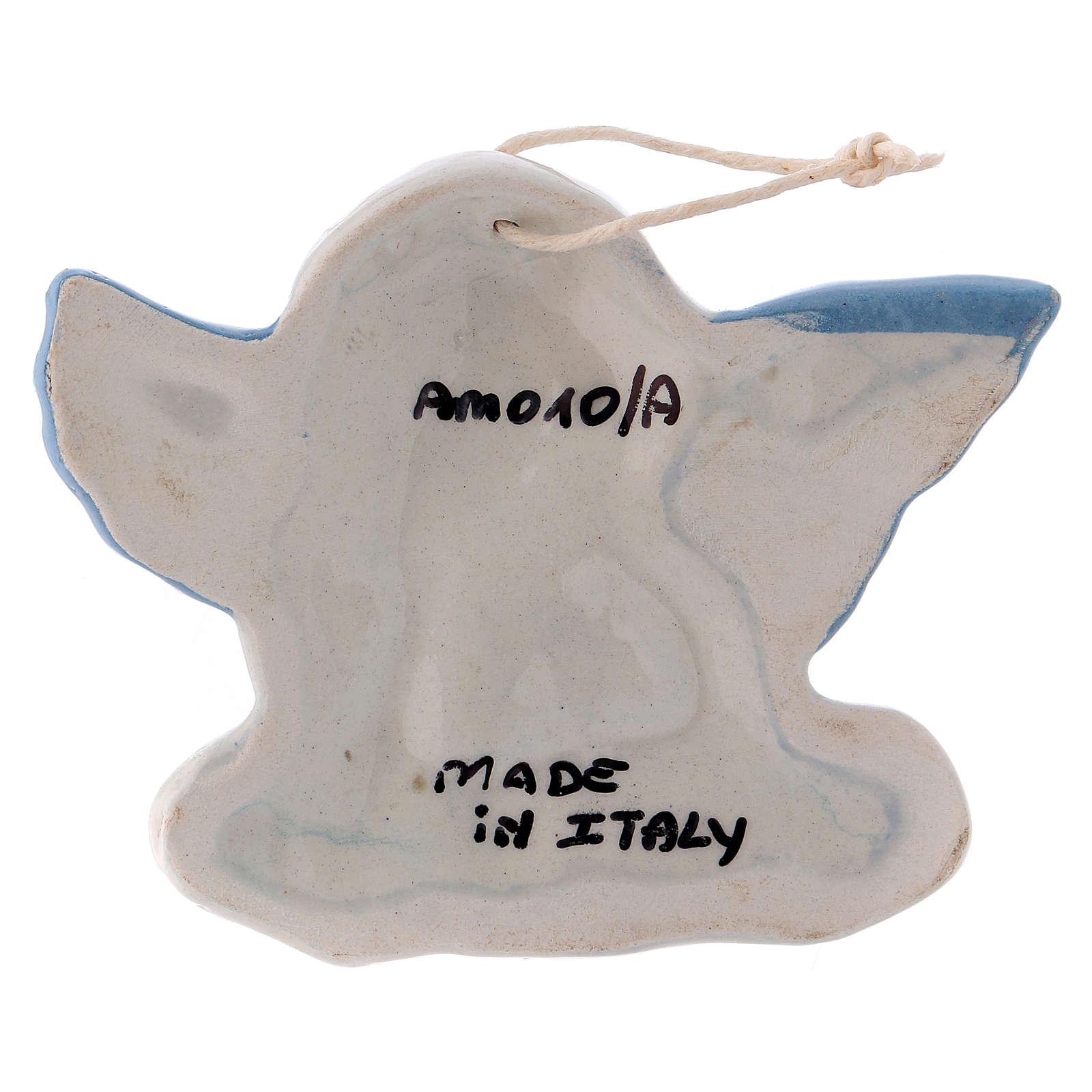 Angioletto da appendere in ceramica Deruta con ali azzurre 5x10x1 cm 3