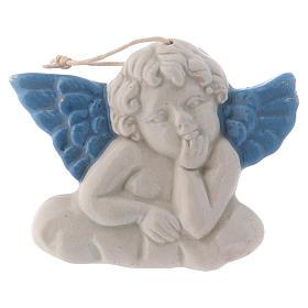 Angioletto da appendere in ceramica Deruta con ali azzurre 5x10x1 cm s1
