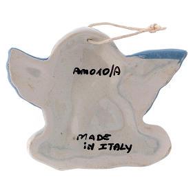 Angioletto da appendere in ceramica Deruta con ali azzurre 5x10x1 cm s2