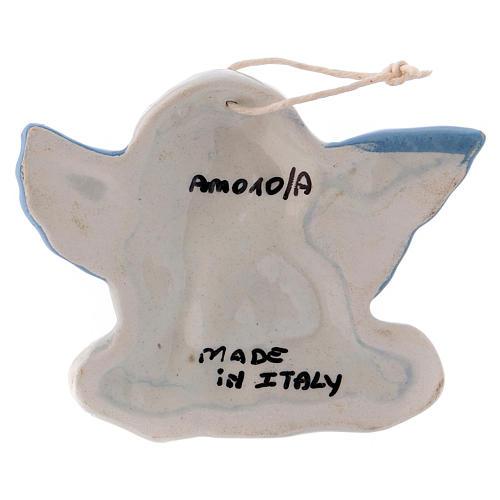 Angioletto da appendere in ceramica Deruta con ali azzurre 5x10x1 cm 2