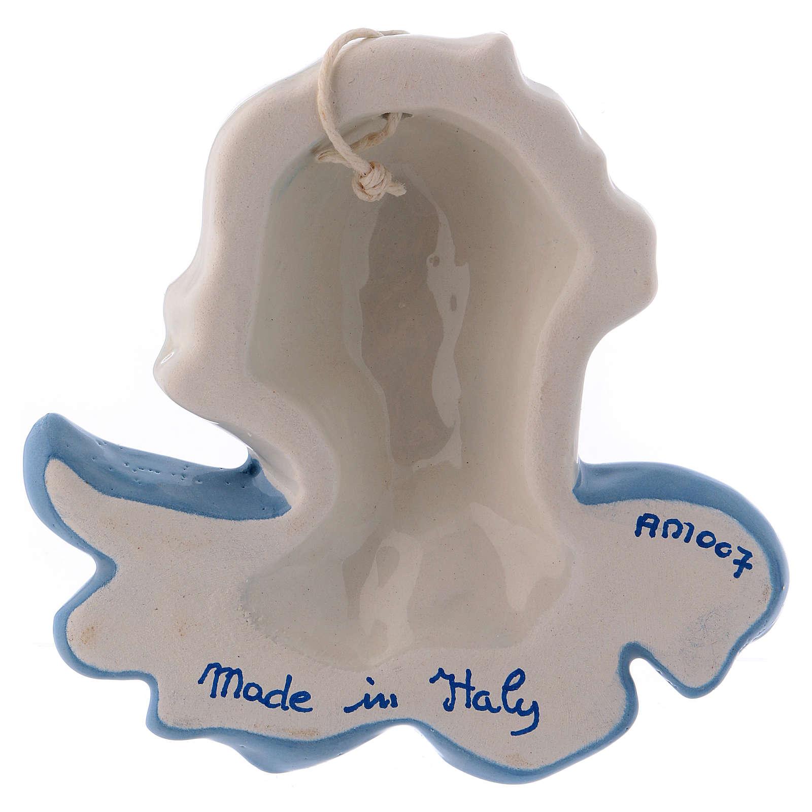 Volto angioletto da appendere ceramica bianca Deruta ali azzurre 10x10x5 cm 3