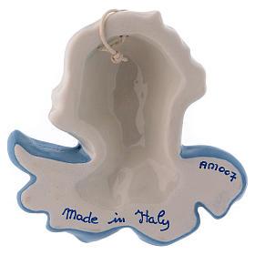 Volto angioletto da appendere ceramica bianca Deruta ali azzurre 10x10x5 cm s2