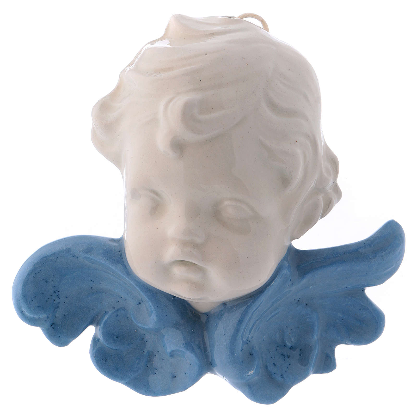 Ceramic Angel face hanging with blue wings made in Deruta 4x4x2 in 3