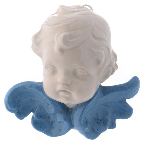 Ceramic Angel face hanging with blue wings made in Deruta 4x4x2 in 1