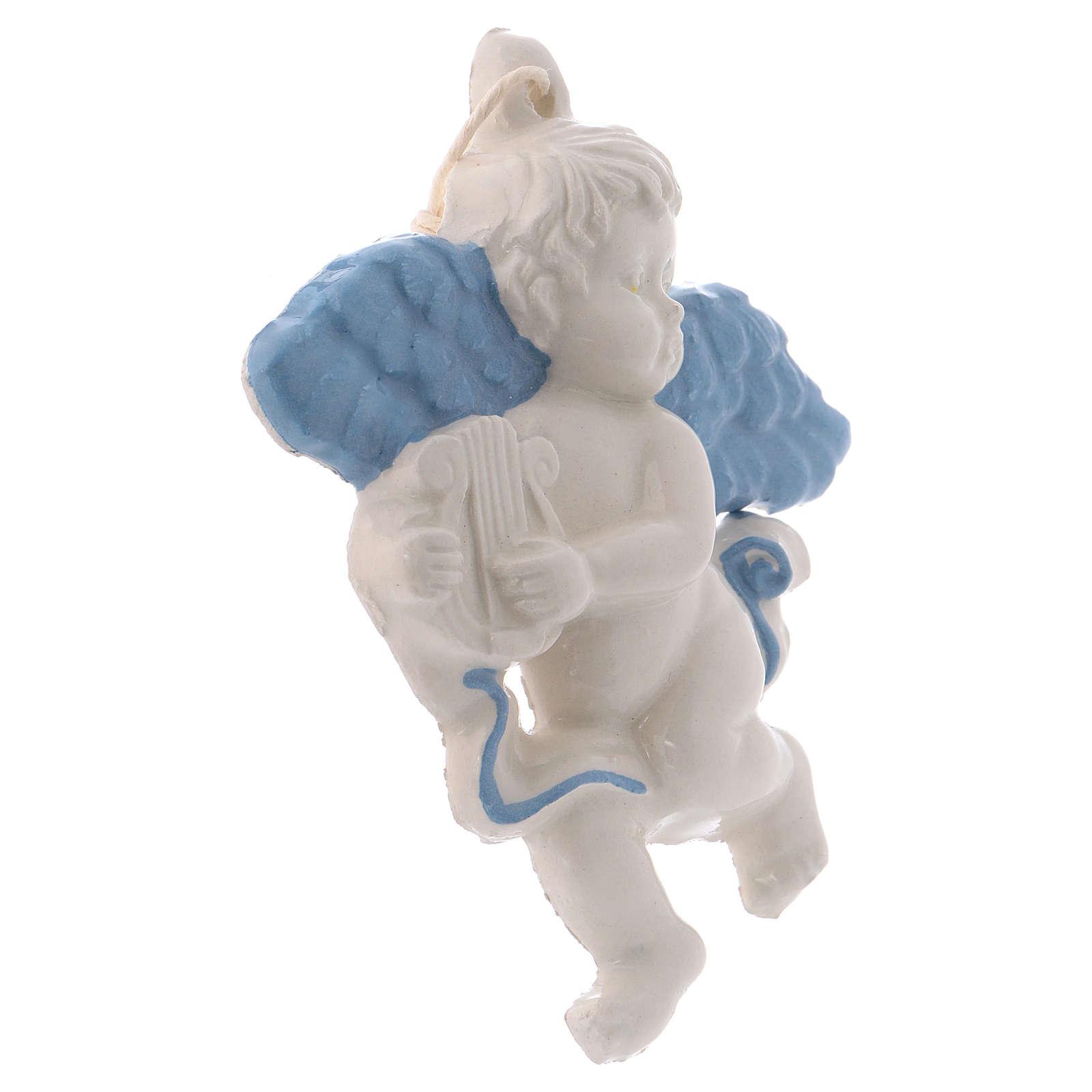 Angelito de colgar de cerámica Deruta con arpa y alas azules 10x10x1 cm 3