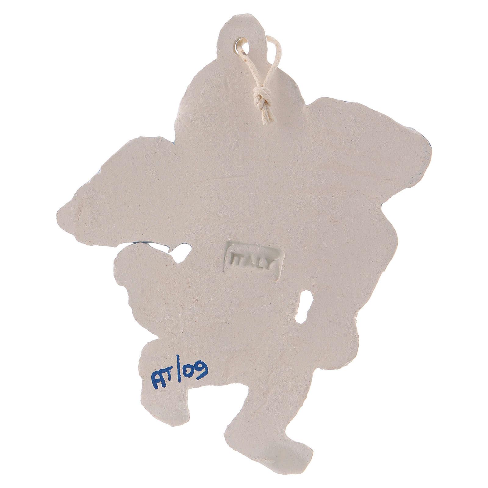 Angioletto da appendere in ceramica Deruta con arpa ed ali azzurre 10x10x1 cm 3