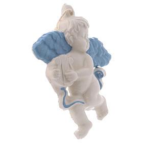Angioletto da appendere in ceramica Deruta con arpa ed ali azzurre 10x10x1 cm s2