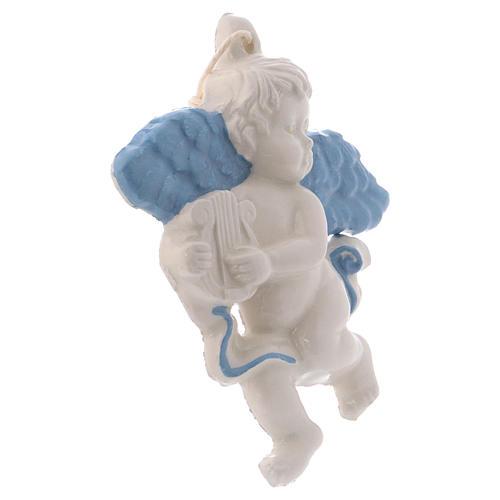 Angioletto da appendere in ceramica Deruta con arpa ed ali azzurre 10x10x1 cm 2