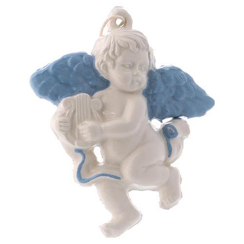 Anjinho para pendurar em cerâmica Deruta com harpa e asas azuis 10x10x1 cm 1