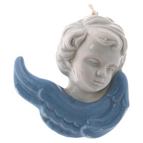 Face of angel to hang in glazed ceramic Deruta 10x5x5 cm s1