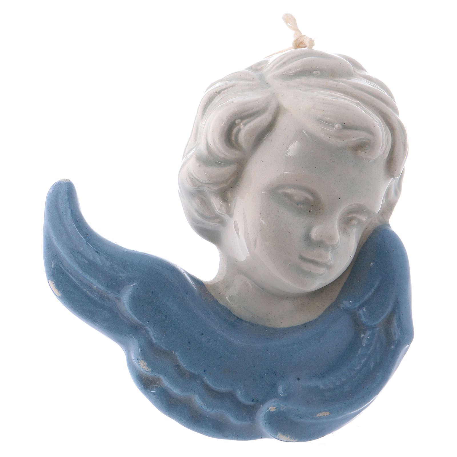 Volto angioletto da appendere in ceramica smaltata Deruta 10x5x5 cm 3