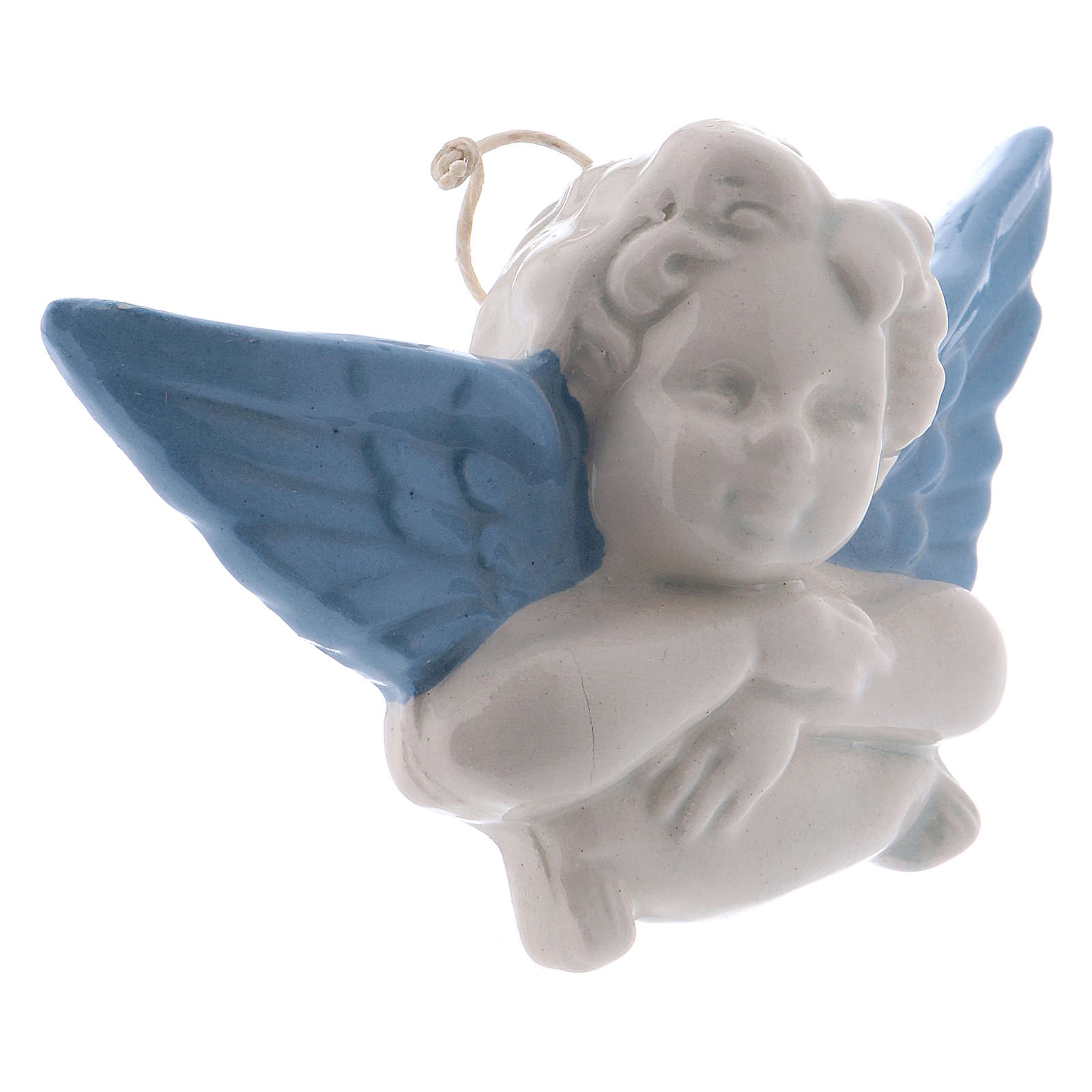 White ceramic Angel hanging with light blue wings made in Deruta 3 in 3
