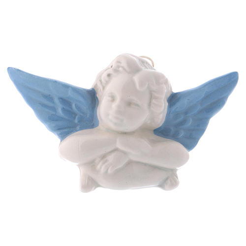 White ceramic Angel hanging with light blue wings made in Deruta 3 in 1