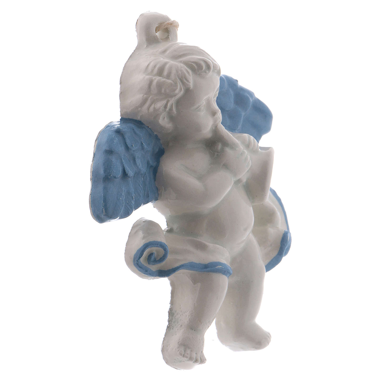 Angel with trumpet 10 cm in terracotta made in Deruta 3