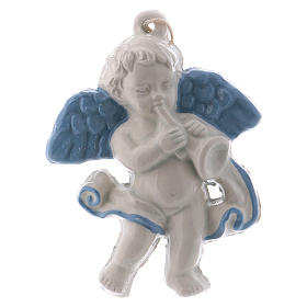 Angel with trumpet 10 cm in terracotta made in Deruta s1