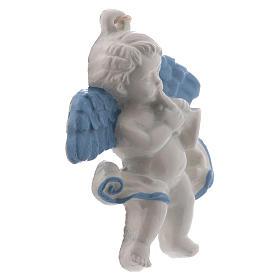 Angel with trumpet 10 cm in terracotta made in Deruta s2